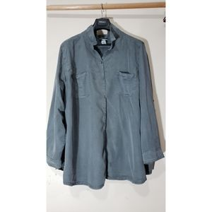 Gray Button Down Top Catherine's 3X (26-28)